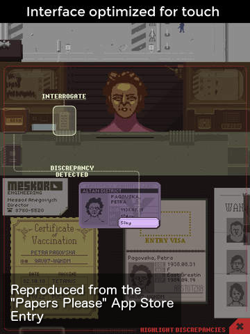 App Store Screenshot from the Papers Please game.